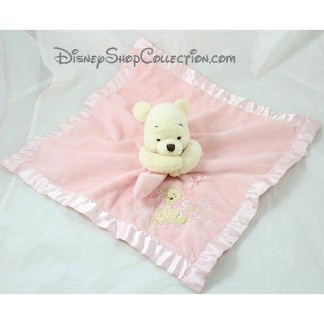 Doudou plat Winnie l'ourson DISNEY STORE satin noeud rose Winnie the Pooh