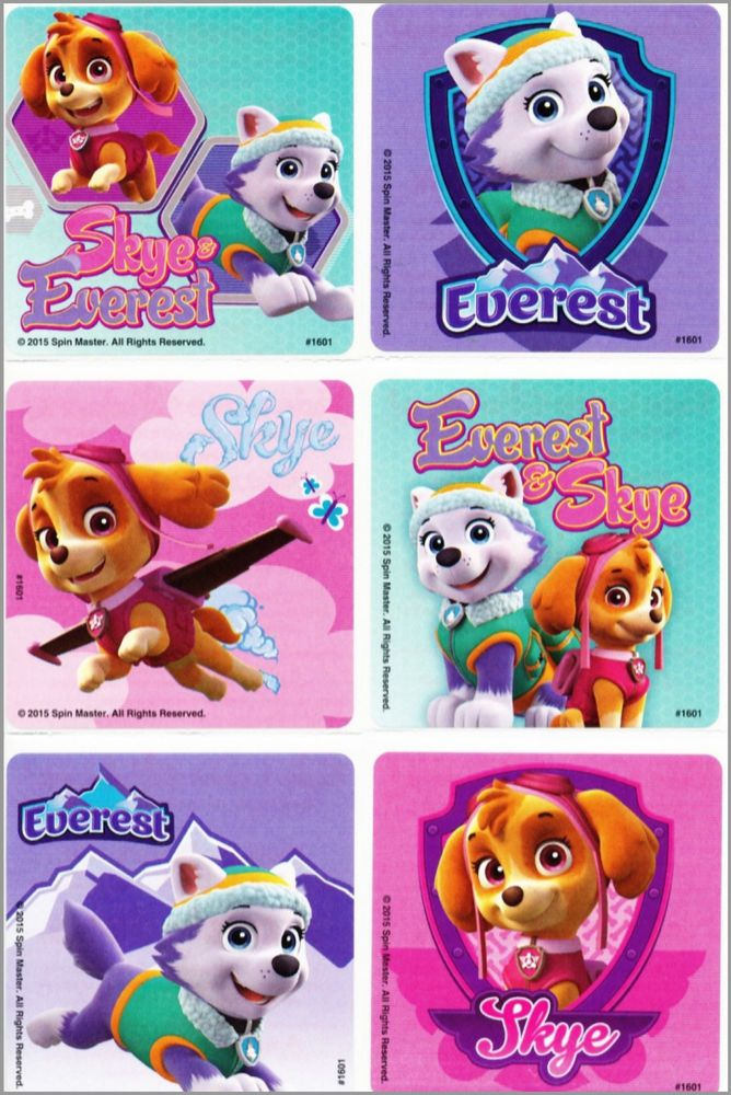 Skye and Everest Paw Patrol Stickers