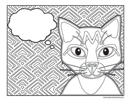 Write Your Own Message Cat Coloring Page Custom PDF Download Zentangle Printable Adult Book