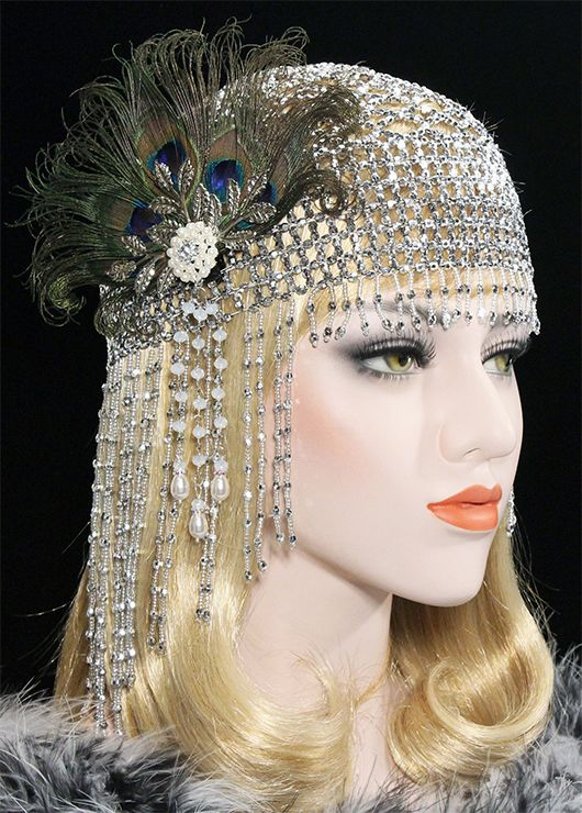 12150e6eaba Draped 1920s fashion headpiece. Great Gatsby Headpiece Gold 20s Soiree  Flapper Beaded Cap. What to wear to a Gatsby Party. Gatsby Party Outfits.