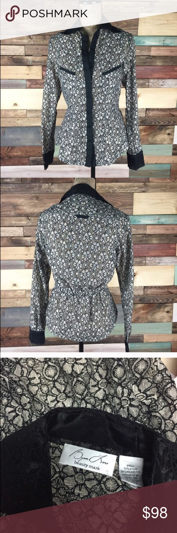 """Bryon Lars Nude/ Black Lace Button Down - 6 Bryon Lars Beauty Mark Designer Nude/ Black Lace Button Down - 6  Extra interior button & hook hidden to prevent buttons from gaping. Batwing style arms.   Bust: 20"""" laying flat / Length: 25""""  #woodsnap #beautymark #byronmars #lace #nudelace #blacklace #buttondown #formal #dressy Anthropologie Tops Button Down Shirts"""