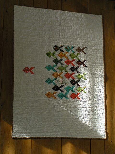 Hand quilted Baby quilt by miapiapom, via Flickr