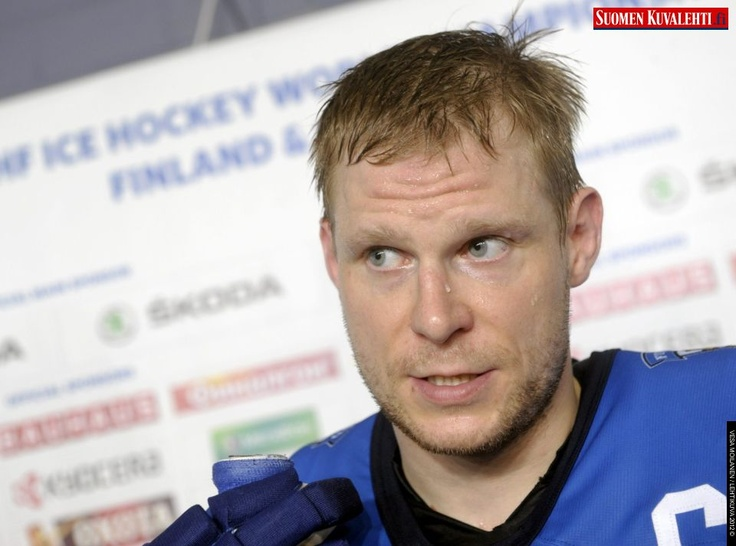 Finland's captain Mikko Koivu talks to the media after the team's 7-1 win over France after the Group H game France vs Finland in the 2012 IIHF Ice Hockey World Championships in Helsinki, Finland, on May 10th