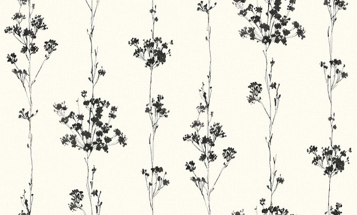 Cow Parsley Black (LU02024) - Galerie Wallpapers - An elegant all over, vinyl wallcovering featuring a trailing pattern of cow parsley. Shown here in the black colourway. Other colourways are available. Please request a sample for a true colour match. Paste-the-wall product