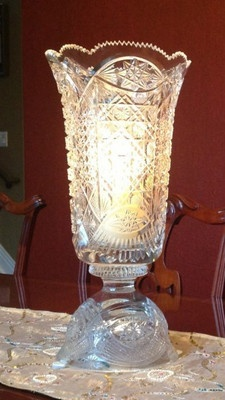 Lead Crystal Glass Victorian Hurricane Vase   eBay