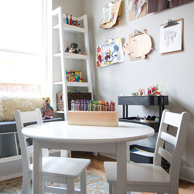 From the storage furniture pieces that double as a window seat to the clipboard gallery for children's art work, we love this arts & crafts room inspiration! (Photo Credit: Live Free Miranda)