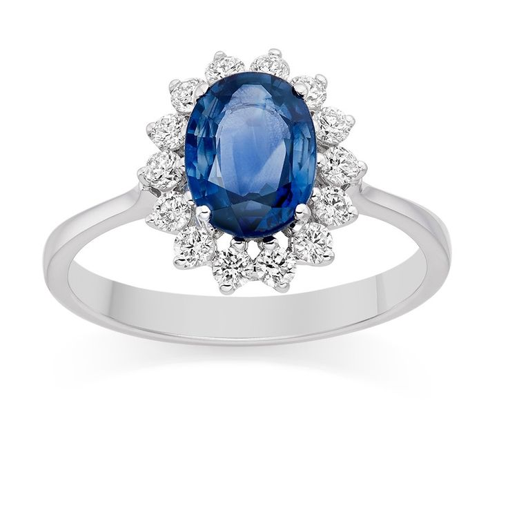 Diamond and Blue Sapphire Ring in 18k White Gold