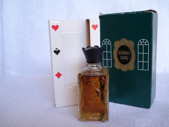 "Vintage Perfume 'Pikovaya Dama' / 'Queen of Spades' VINTAGE RARE AND BEAUTIFUL RUSSIAN PERFUME IN ORIGINAL BOX  Produced in 1971  FACTORY: ""Novaya Zorya"" Moscow  MADE IN USSR-RUSSIA"