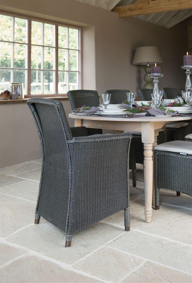 Neptune Dining Chairs - Havana Lloyd Loom Armchair - Slate
