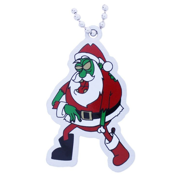 Zombie Santa Travel Tag $5.50 USD Don't worry kids, this isn't the real Santa. Unfortunately, it is a real Zombie!   Zombie Santa is ready to travel from geocache to geocache spreading his own version of holiday cheer. These travel tags are the most festive addition to our Zombie collection yet!  They are trackable at Geocaching.com, and come with a chain in case you want to send them along with some brains or other fun travel items.