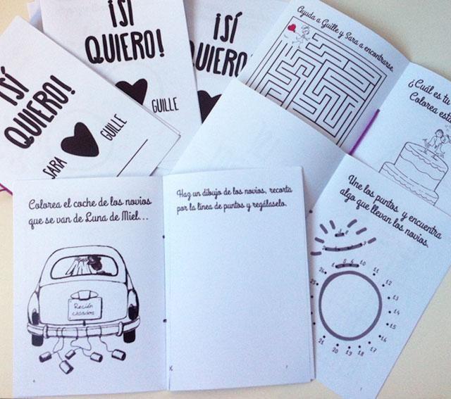 Libro de actividades descargable gratuito para niños en bodas