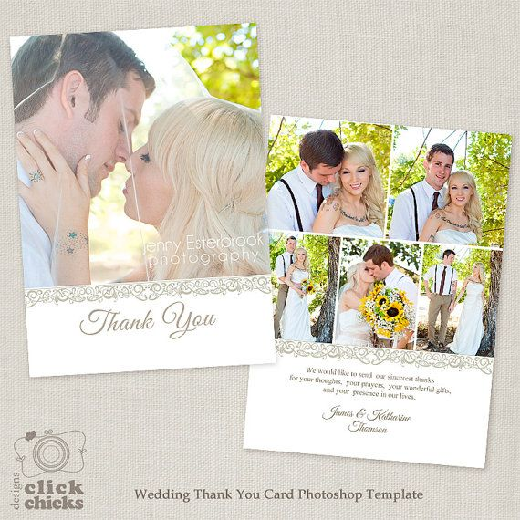 Wedding Thank You Card Template - 5x7 Flat Photo Card 004 - C123, Instant Download