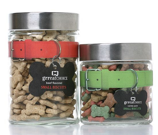 Unique packaging design for Grreat Choice dog treats, complete with a collar and tag as the labels.