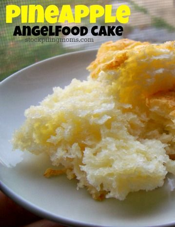 Pineapple Angel Food Cake. Box of Angel Food Cake mix and 20 can of crushed pineapple with juice. Mix by hand then pour in a non greased pan. Bake at 350 for 28 to 30 minutes. Making this tonight...we will see if it is as good as everyone says..        it was a fail! might try i again with tweeks