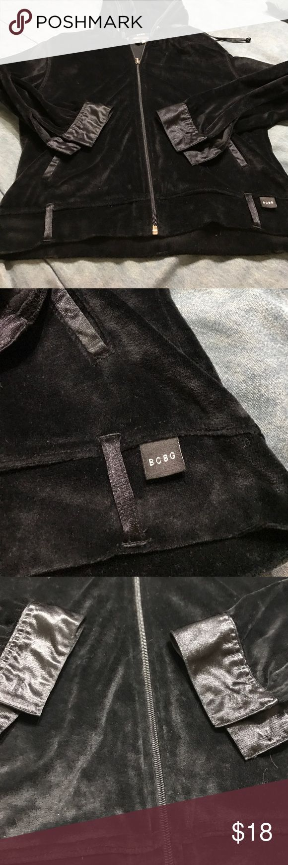 Bcbg velour jacket black hoodie Bcbg velour jacket black hoodie BCBGMaxAzria Tops Sweatshirts & Hoodies