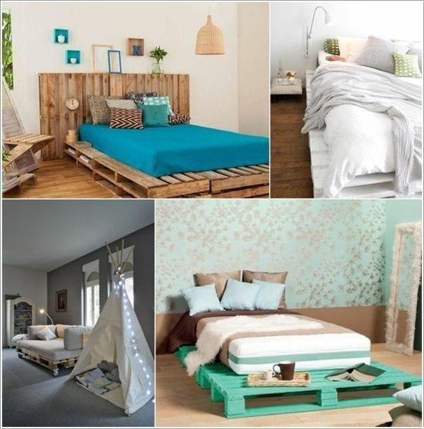 Europaletten Bett selber bauen u2013 30 Ideen für kostengünstige DIY - schlafzimmer ideen selber machen