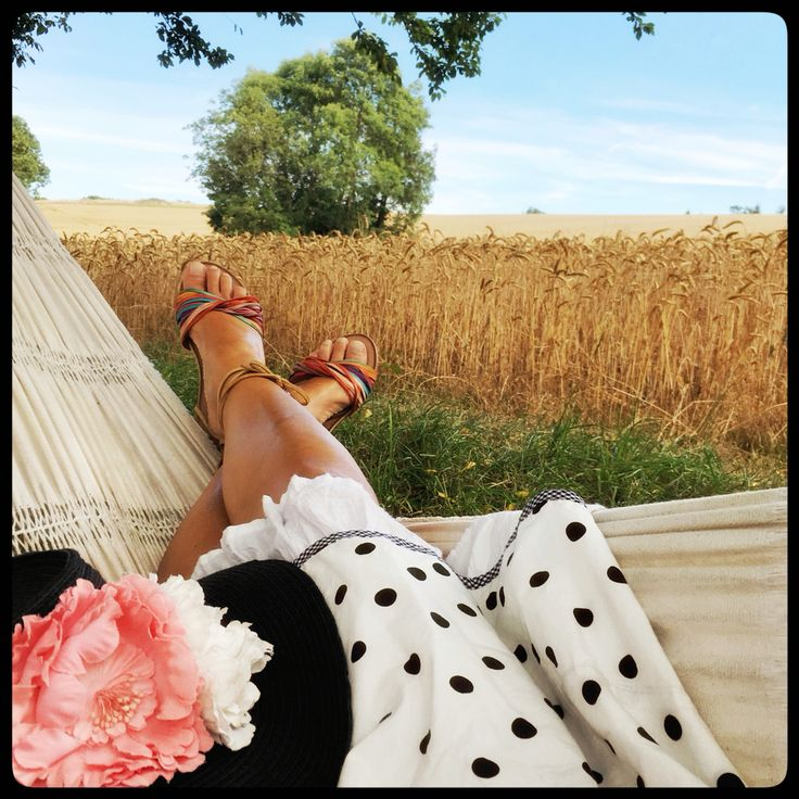 """Lovely quiet """"holiday"""" on Bornholm. Summer greetings from Johanne in my White polka dot """"Norah"""" dress. check it out on the webshop:"""
