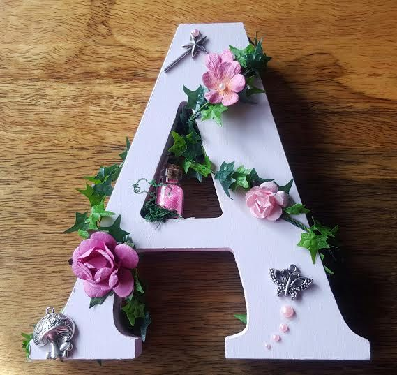 Handpainted Girls Personalised Wooden Letter - Fairy Theme Girls Bedroom Decor - Fairy Wooden Letter - Girls Christening Gift by whisperingwoodgifts on Etsy
