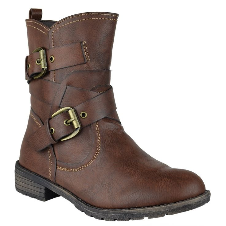 Womens Ankle Boots Wrap Around Buckle Strap Motorcycle Riding Shoes Tan