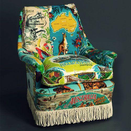 Vintage Tea Towel Upholstered Chair