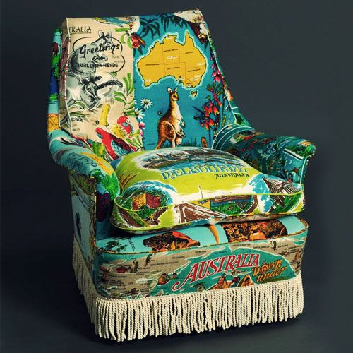 Tea towels meet second hand chairs. You can't get more fabulously kitsch than this!