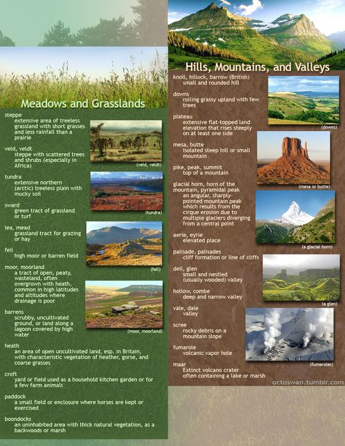 useful geographical descriptions for writers: part 1 - meadows, grasslands, hills, mountains, and valleys