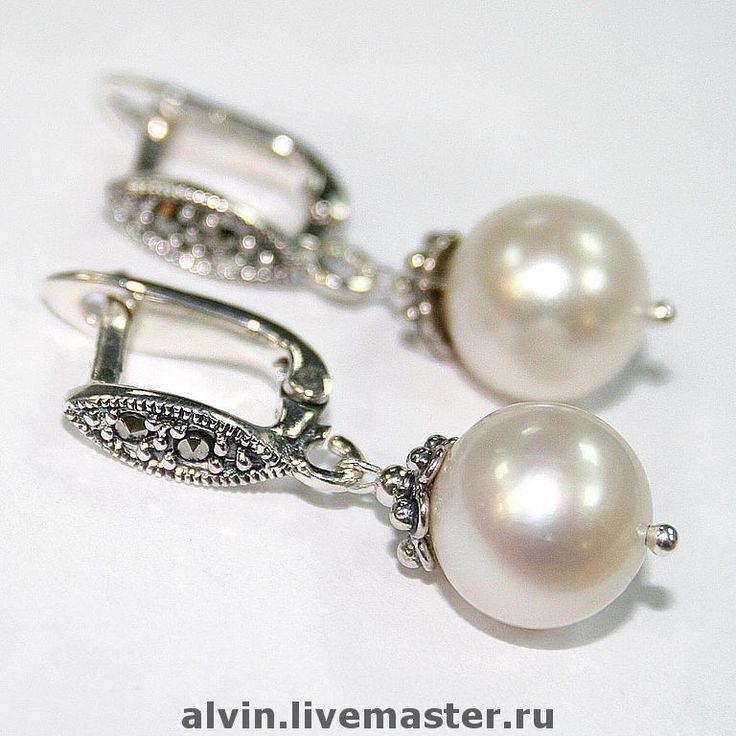 серебряные серьги с жемчугом фото