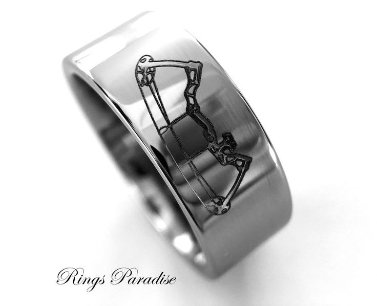 Archery Ring, Archery Pattern Engraved Tungsten Ring, Mens Tungsten Rings, Bands #RingsParadise