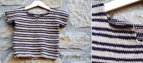 """Knit striped sweater for toddlers handmade by Atelier Faggi. Righe di altezze diverse e colore contrastante per una T-shirt di maglia... by """"à propos de..."""" Atelier Faggi."""