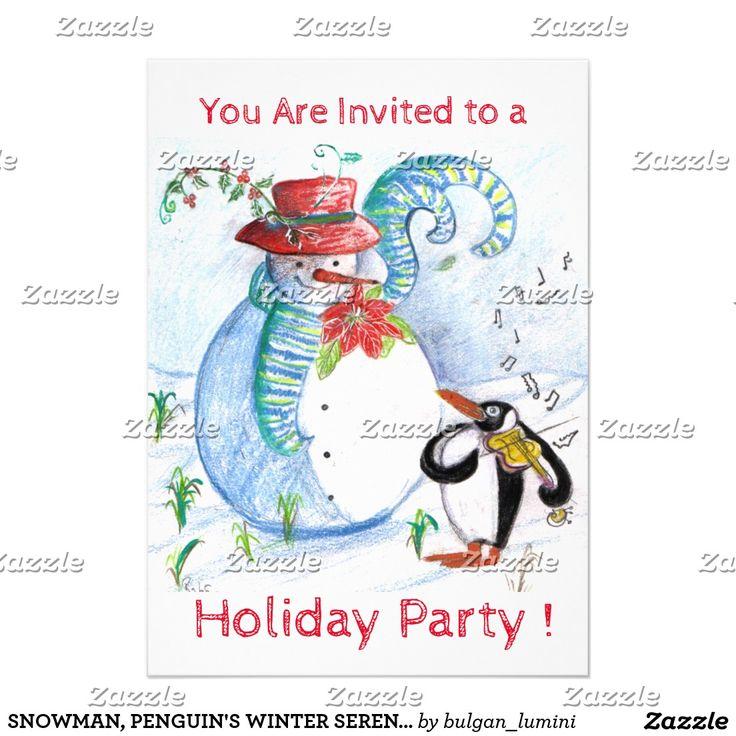 SNOWMAN, PENGUIN'S WINTER SERENADE HOLIDAY PARTY INVITATION CARD by Bulgan Lumini (c)  #music #musical #events #violin #xmas #christmas #art