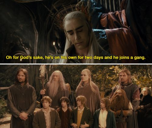 Thranduil despairs over Legolas's life choices. Next he'll be insisting his BFF is a dwarf.