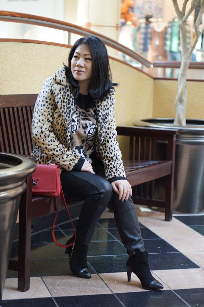 petite winter fashion street style BCBG tiger sweater + Tracy Reese black faux leather skinny + DV black booties + Guess leopard winter coat + Louis Vuitton red bag