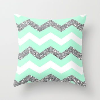 seafoam glitter chevron Throw Pillow by Hannah                                                                                                                                                                                 More