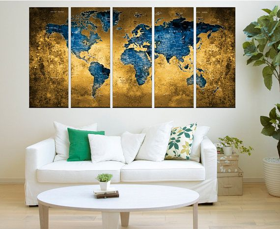 Canvas prints add a unique touch to your home. Modern, stylish and unique design will be the most special piece of your decor. Especially for those who like abstract works, black and white acrylic painting can be prepared in desired sizes  blue world map Push pin wall art canvas print, extra large wall art, blue and brown abstract wall art, No:Hr10  i designed the watercolor map on photoshop. you will receive high resulation canvas print   ◆ GALLERY WRAPPED CANVASES We print high quality…