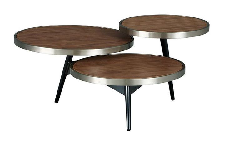 A three-tiered table for cosmopolitan living, with warm walnut surfaces set in chrome for serving or displaying! | Allegro Cocktail Table cort.com