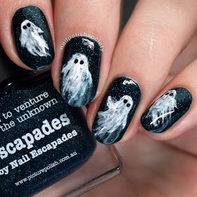 "Day 29 (""inspired by the supernatural"") of the 31 Day Challenge - ghost / Halloween nail art"
