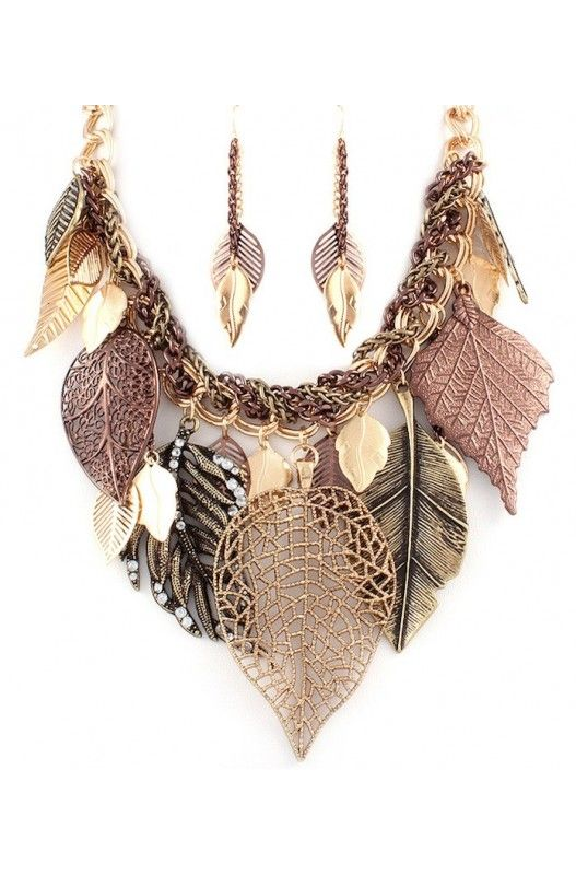 """Desert Leaves"" Necklace Earring Set-  Limited Item In Stock! Available at 50% Discount. Shop Now!"