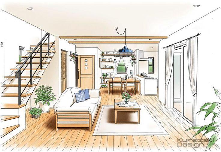 KD-38 住宅内観 LDK リビング カウンターキッチン 手書きインナー 建築パース 手描き