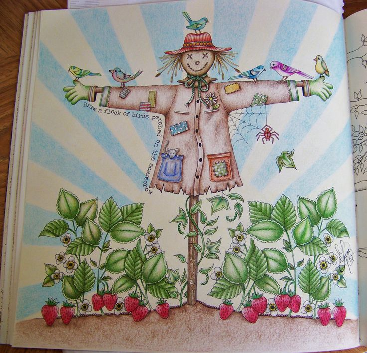 Adult Coloring Book Secret Garden Johanna Basford. Scarecrow. Done with Prismacolor Scholar by Donna Leger. #secretgarden #johannabasford