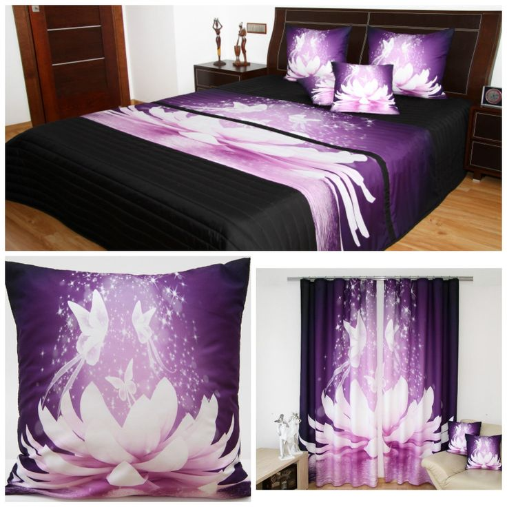Čierno-fialový dekoračný set do spálne  s rozprávkovým motívom lekna a motýľov