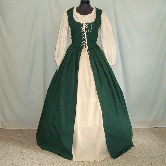 Renaissance Dress - Irish Overdress And Underskirt - Custom Size, Color - Medieval Costume Gown, Celtic Faire, SCA, LARP