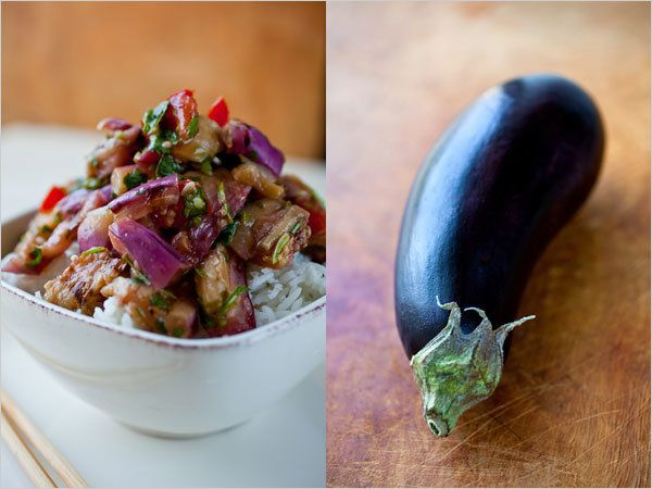 NYT Cooking: Steamed Jasmine Rice With Grilled Eggplant Salad