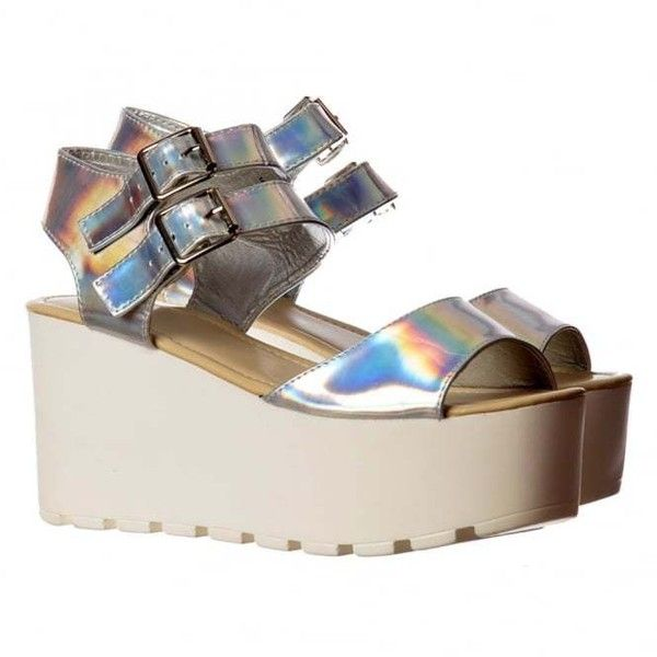 Onlineshoe Double Buckle Summer Sandals Chunky Wedge Silver Hologram (1,250 INR) ❤ liked on Polyvore featuring shoes, sandals, 2 buckle sandals, chunky wedge sandals, silver shoes, wedge heel shoes and two buckle sandals