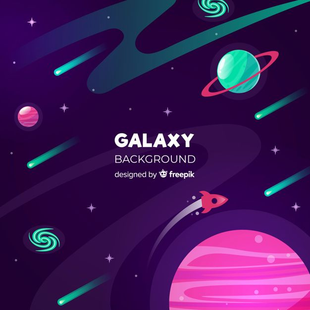 Colorful Galaxy Background With Flat Design Free Vector Space Illustration Galaxy Background Flat Design