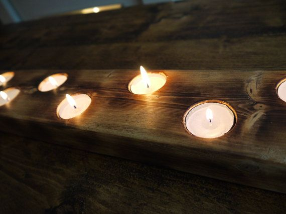 Large handmade wooden candle holder. Holds 12 by TheWoodForgeCo