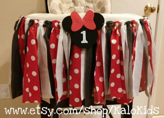 Classic Minnie Mouse Fabric High Chair Banner by KaloKids on Etsy