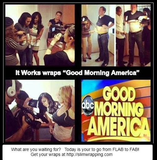 The Good Morning America staff.....Tried That Crazy Wrap Thing! Start your own WRAP business for only $99 @  http://slimwrapping.com  #thatcrazywrapthing #goodmorningamerica #itworks