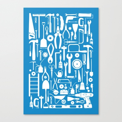 Toolbox Poster: Blue Stretched Canvas by CreativeNeesh - $85.00