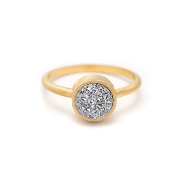 Silver Druzy Quartz in Gold POP Ring