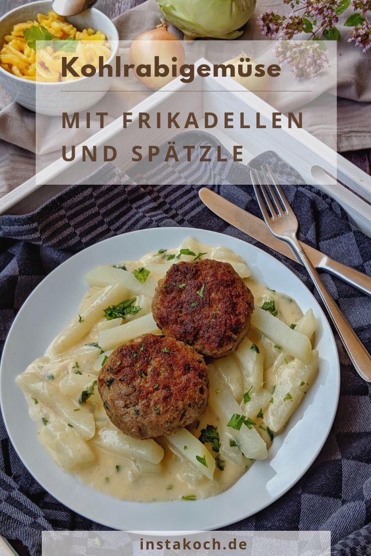 Kohlrabigemüse in heller Soße mit Frikadellen und Spätzle – Rezepte – Kochrez …